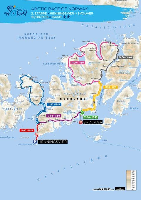 2. Etappe: Den andre etappen tar i bruk store deler av veinettet på Austvågøya.
