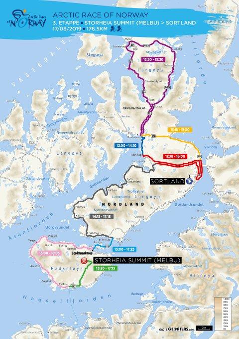 3. Etappe: 3. etappe går i Vesterålen, og vil ikke påvirke trafikken i Lofoten nevneverdig. Med avslutning på toppen av Storheia kan etappen likevel være interessant å få med seg.