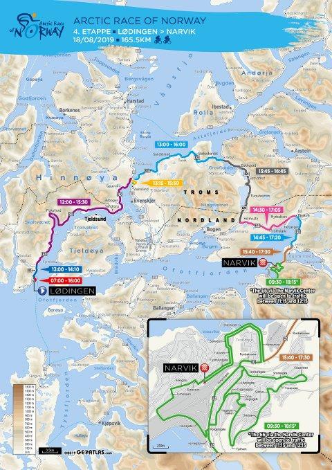 4. Etappe. Rittets 4. etappe vil ha betydning for Lofotinger som skal ut å fly søndag 18. august.