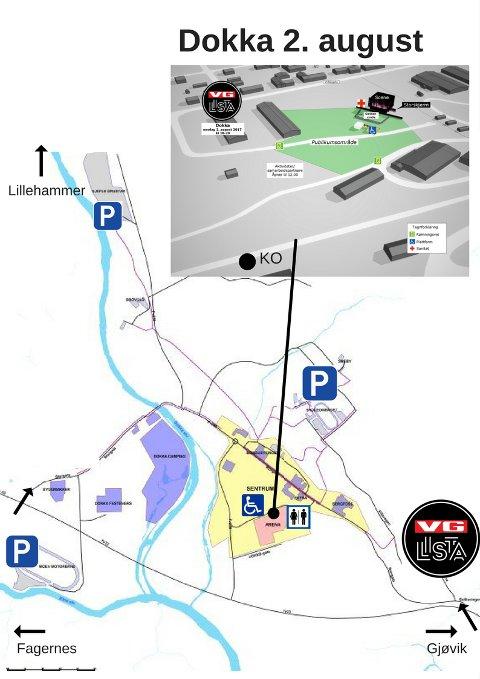 PARKERING: Her er en oversikt over parkeringsplassene når VG-lista kommer til Dokka.