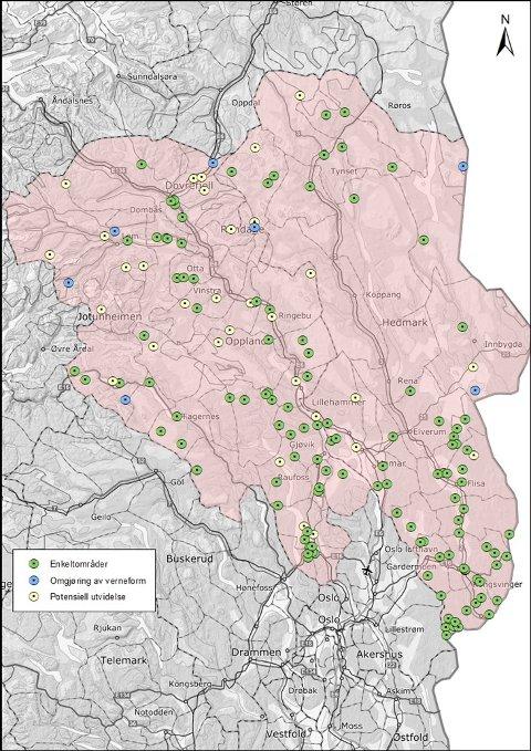 MANGE OMRÅDER: Dette kartet viser alle de 121 områdene som blir spilt inn som mulige verneområder i Hedmark og Oppland. Illustrasjon: Fylkesmannen i Innlandet.