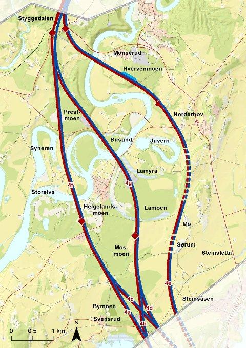 Kart viser linjer for Ringeriksbanen og ny E16 over Helgelandsmoen, Busund og Monserud/Hvervenmoen.