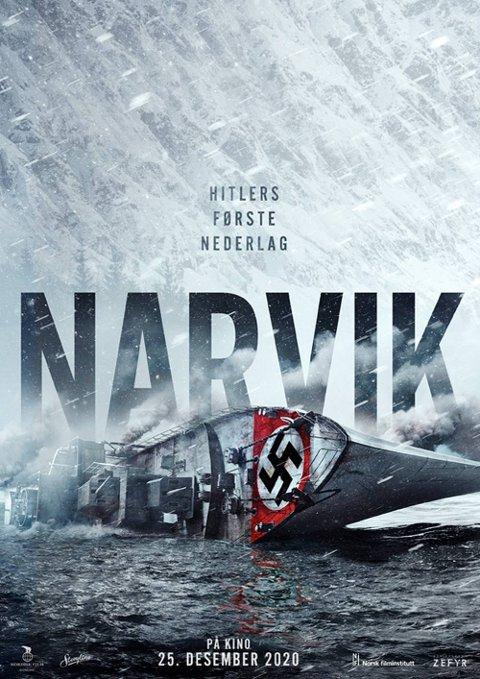 """POSTER: Slik ser den første teaser-plakaten til Filmen ut, og nå er tittelen endret til """"Kampen om Narvik"""" med samme undertittel; Hitlers første nederlag."""