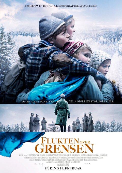 FLUKTEN OVER GRENSEN: Kinoplakaten til Norges første familielangfilm med tema om barn i krig, og det er store forventninger.
