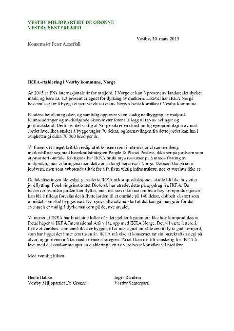 Her er brevet Senterpartiet og Miljøpartiet De Grønne har sendt til IKEAs konsernsjef.