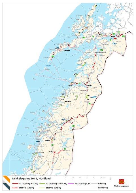 Kart over strekningene i Nordland som får ny asfalt.