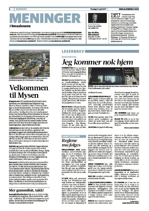 Leserinnlegget: Dette leserinnlegget ble trykket i Smaalenenes Avis 11.07.2017