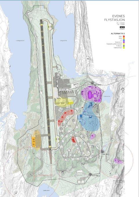 Slik ser planene ut for det som skal bygges på Evenes. Områdene merket med rødt er for kampflyene, mens de orange områdene er for de maritime patruljeflyene.