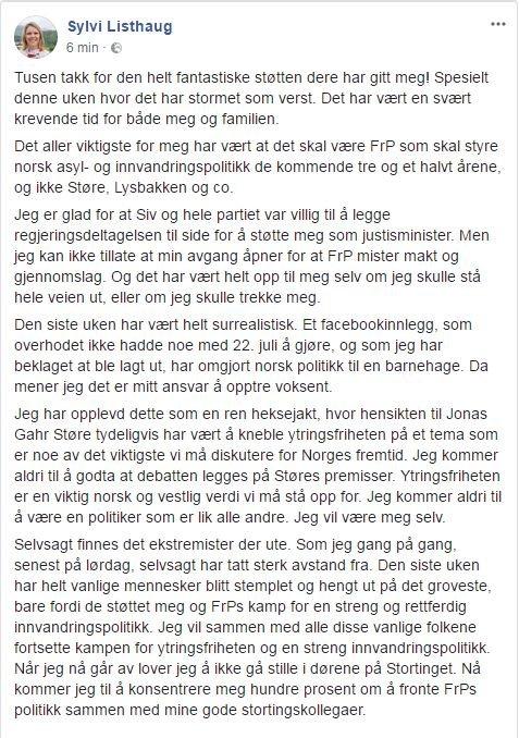 INNLEGG: Dette innlegget la Sylvi Listhaug ut på sin Facebook-side tirsdag morgen.