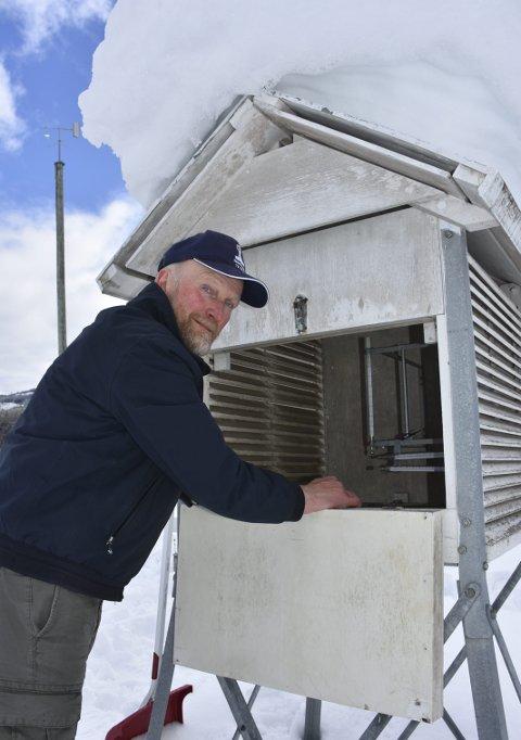 Dagleg jobb: Kjell Aabjørsbråten har vore trufast vêrmeldar for Meteorologisk i straks 30 år, men ved årsskiftet gav han seg og stasjonen vart avvikla. Framleis står utstyret på garden.