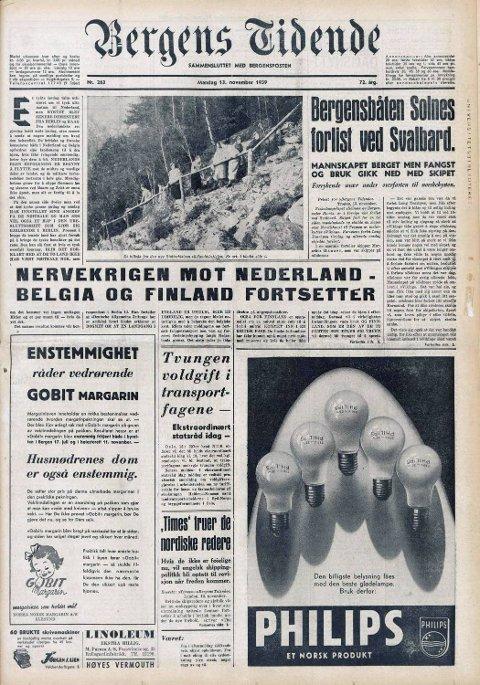 13. november 1939 dukker dette bildet opp på førstesiden av Bergens Tidende. I artikkelen inni avisen går det frem at Stoltzekleiven nærmer seg ferdigstillelse.