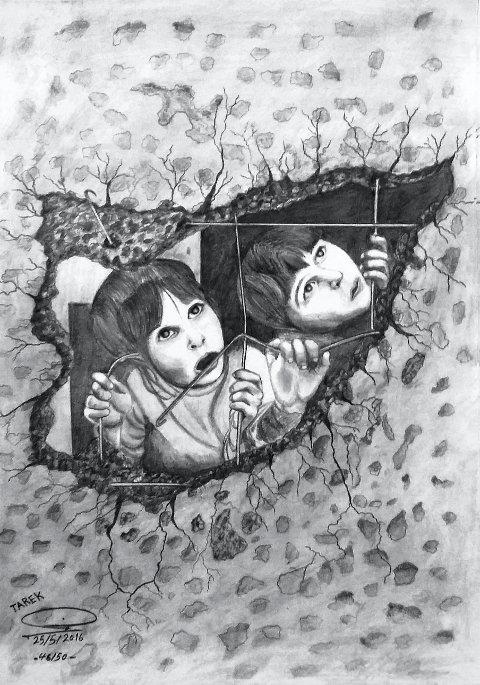 TEGNING: Tarek lager flotte tegninger. Her er hans skildring av to syriske barn som titter ut gjennom ruinene, formet som kartomrisset av nasjonen Syria.