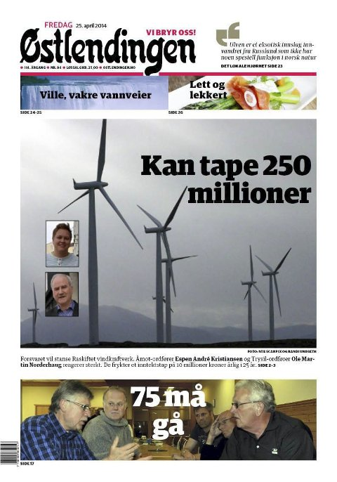 FAKSIMILE: Fra Østlendingen 25. april 2014.