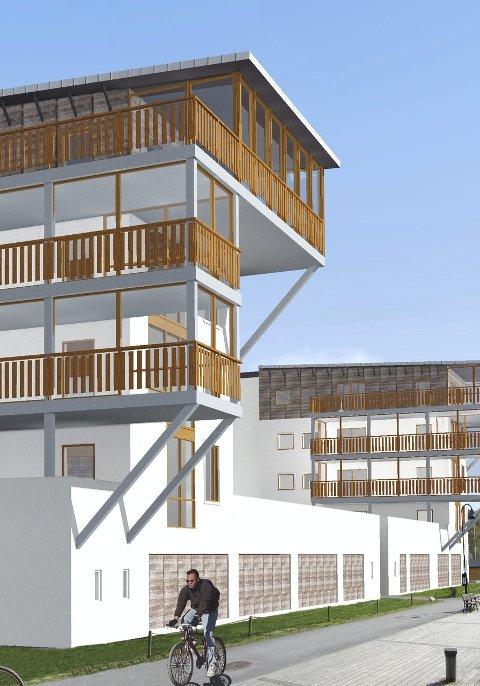 Sjøsiden: Det såkalte Meny-bygget, her sett mot sjøsiden, får nå en selvrensende struktur på overflaten, av samme type som høyblokka Kilen Panorama i nærheten. Det skal ikke gjøres andre bygningsmessige endringer. Illustrasjon: Stodesign