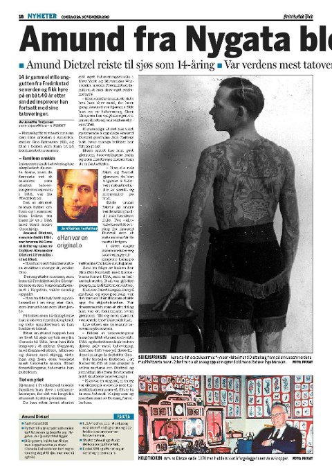 Historien til Amund Dietzel ble blant annet omtalt i Fredriksstad Blad i 2010.