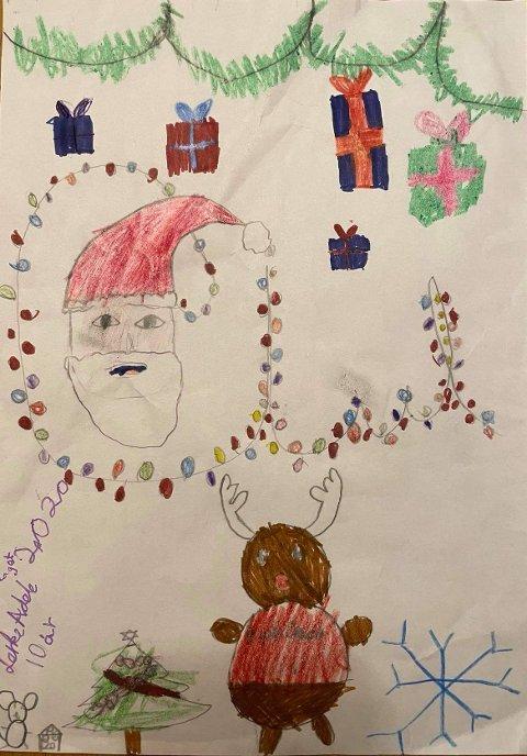 LERKES JUL: Lerke Magnussen, 10 år, har tegnet dette flotte bildet.