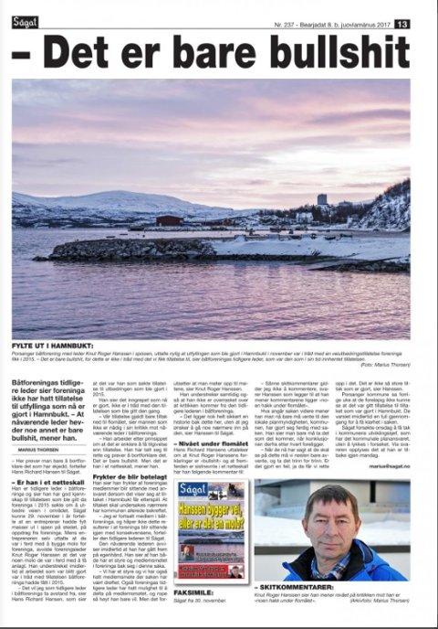 KRITIKK: Ságats opplsga fra 8. desember i fjor, der tidligere leder i Porsanger båtforening, Hans Richard Hansen, kommer med skarp ktitikk av dagens leder.
