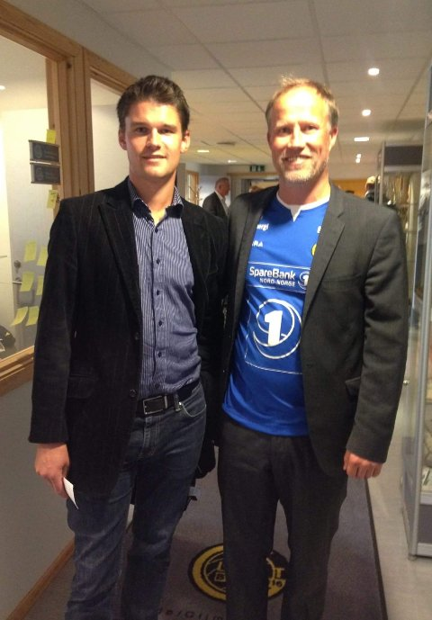 Martin Kvarsvik, her avbildet med Glimt-legende Runar Berg.