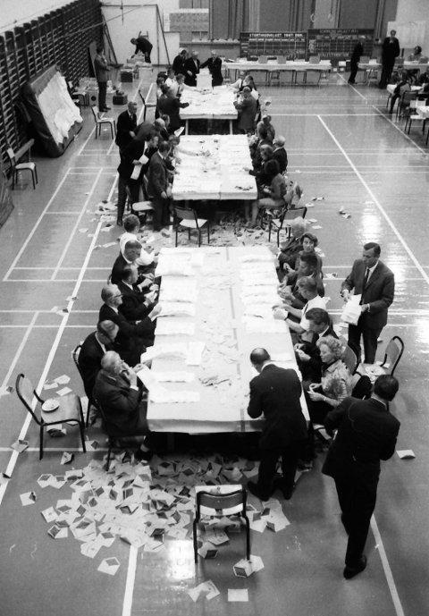 Manuell opptelling: Stedet er Turnhallen der opptellingen av kommunevalget i 1971 foregikk for hånd. Idrettsaksjonen samme år hadde mange lister som var rettet. Foto: Reidar Halden