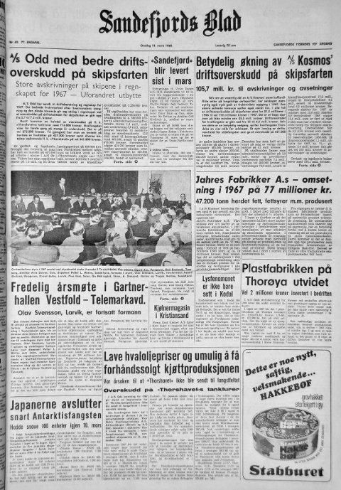 13. mars 1968: Førstesiden i Sandefjords Blad for 50 år siden. Fredelig årsmøte i Gartnerhallen Vestfold- Telemarkavd.