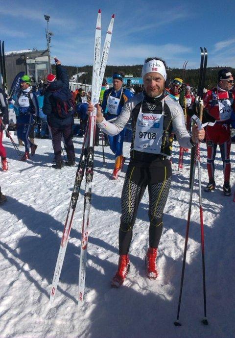 Brigt Rødli fra Melbu gikk det 54 kilometer lange rennet mellom Rena og Lillehammer både fredag og lørdag. (Foto: Privat)