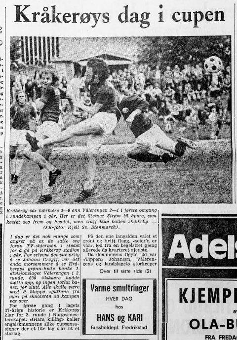 FAKSIMILE: Her er en faskimile av Fredriksstad Blads 1. side dagen etter at Kråkerøy sendte Vålerenga ut av cupen i 1974.
