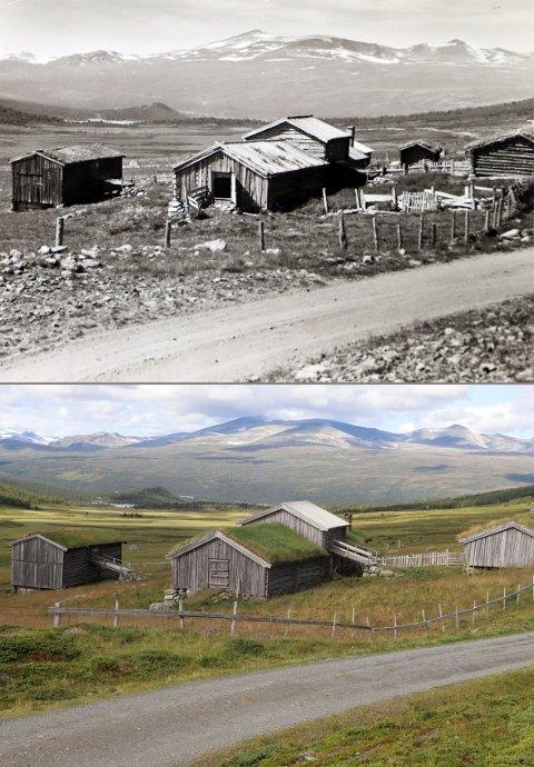 Kvarbergseter i  Griningsdalen, i 1969 og 2019.