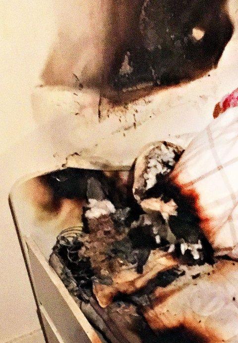 I MADRASS: Brannvesenet rykket ut etter at en beboer ringte 110 og varslet om brann i et leilighetsbygg i Vestskogen på Nøtterøy.