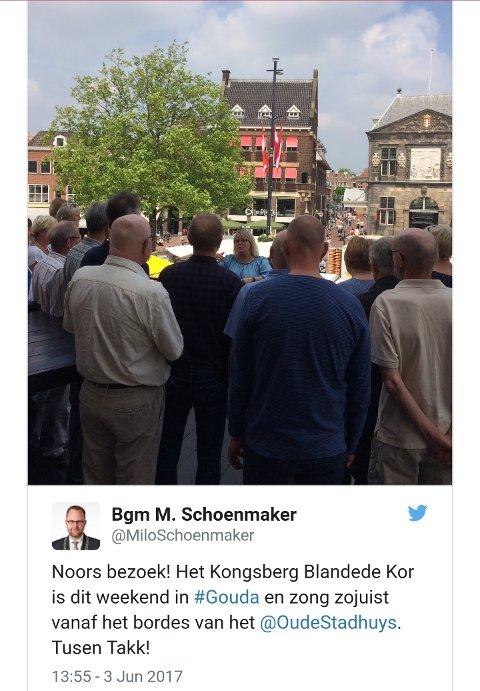 Borgermesteren i Gouda twitret om besøket fra Norge