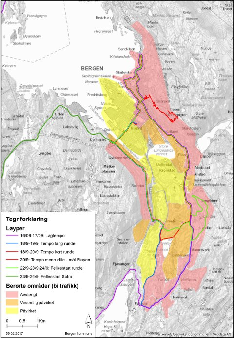 I de røde områdene vil det være stengt for biler fra klokken 0830-1900.