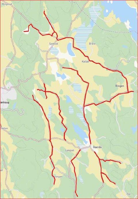 HER SKAL DET GRAVES: De røde strekene markerer hvor Viken Fiber skal bygge ut fiber i Havnås.