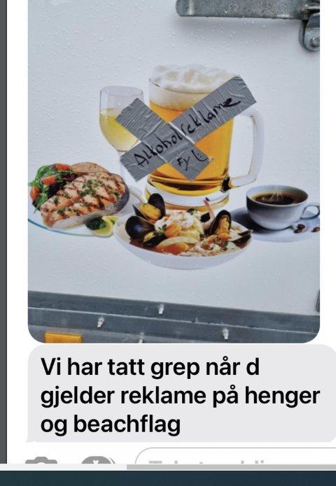 GAFFATAPE: Kommunedirektøren vil tildele Mosvik brygge to prikker, blant annet for dette bildet, som kommunen mener viser et svært utilfredsstillende forsøk på å fjerne alkoholreklame.
