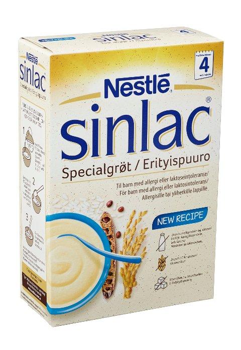 Nestlé tilbakekaller Sinlac Spesialgrøt med best-før-dato 09.2021, fordi kadmium-nivået i produktet er for høyt. Illustrasjonsfoto: Nestlé/NTB