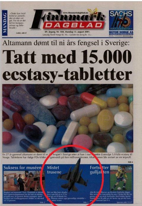 FØRSTESIDESTOFF: Saken med trusene som ble mistet fra jagerflyet fikk førstesidehenvisning i Finnmark Dagblad.
