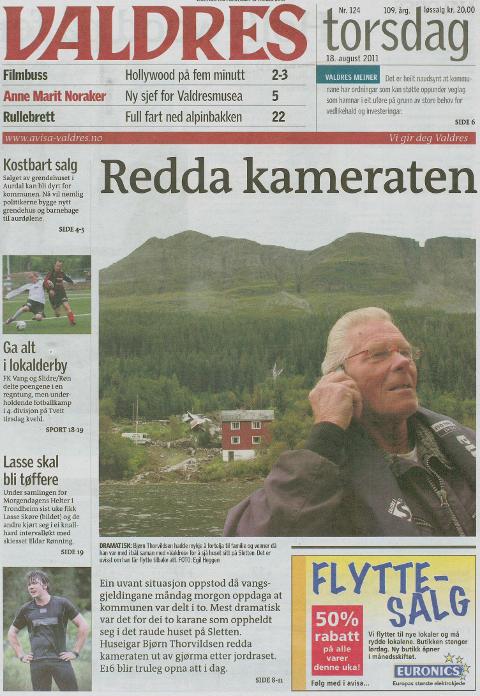 DRAMA: Slik så forsida til avisa ut 18. august 2011, da det også gikk et stort jord- og steinras i Øye.