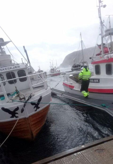 Gikk ned i stormen: Båten som har gått ned lå ved den ytterste delen av flytebrygga som man ser i bakgrunnen av de to båtene på bildet. Det var ikke tilrådelig å gå ut på flytebryggen for å ta bildet av dette. FOTO: Jens Are