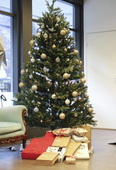 Flott tre: Her kan folk legge igjen julegaver.