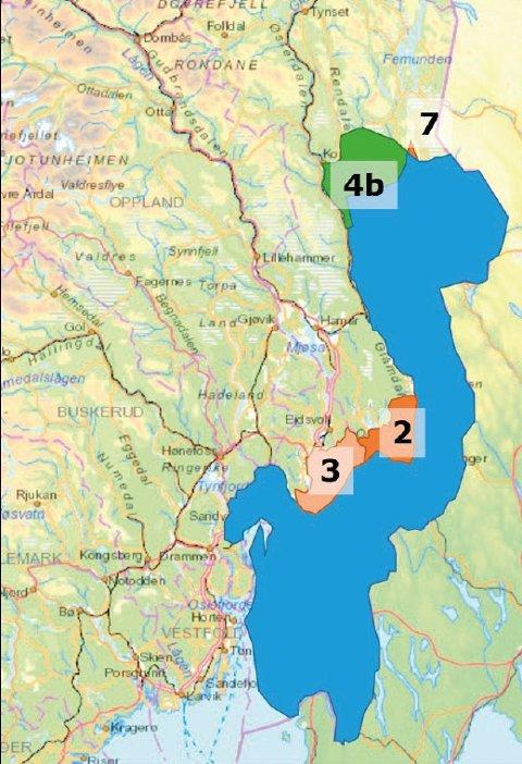 ENDRES: Slik endres dagens ulvesone. Sone 2 og 3 tas ut, mens 4b tas inn.