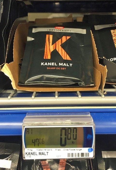 KANEL: Malt kanel koster 80 kroner pakken, og er altså 10 øre dyrere enn på Kiwi.