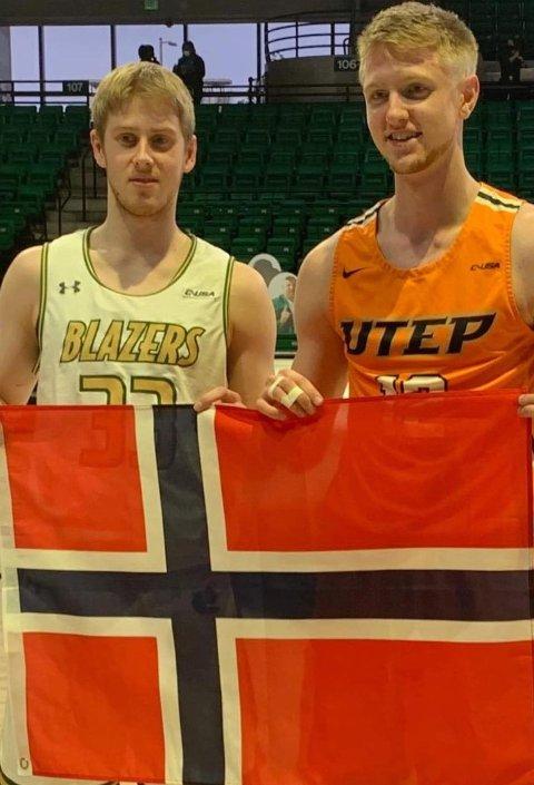 FETTERE: Tobias Rotegård (t.v.) og hans lag vant begge oppgjørene mot fetteren Kristian Sjøund i NCAA-oppgjørene i helgen. FOTO: PRIVAT