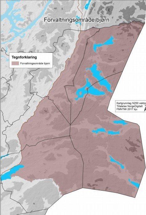 Område: Forvaltningsområdet for bjørn i region 6 markert med brun farge.