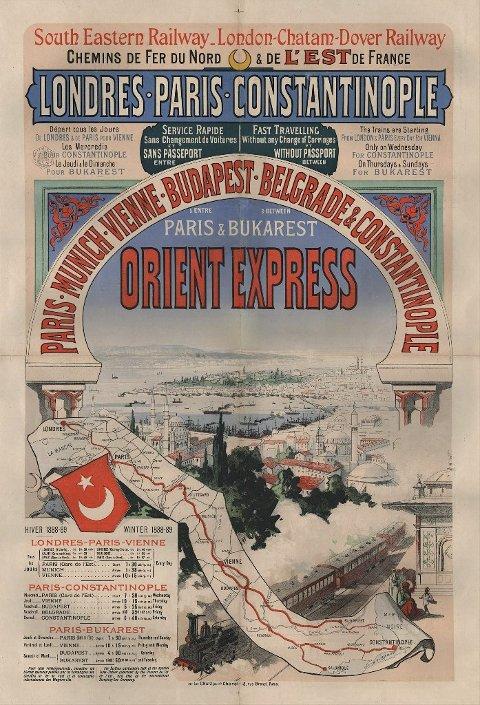 REKLAMEPLAKAT: Orientekspressens rutetider for vinteren 1888-1889.