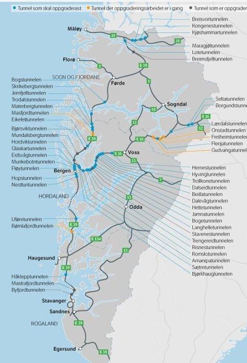 Oversikta viser tunnelane i Region Vest som skal oppgraderast.