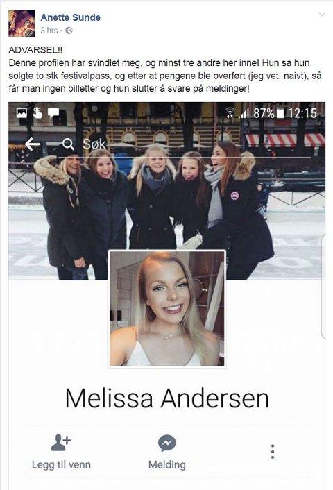 Anette Sunde advarer andre mot å kjøpe billetter fra Melissa Andersen, etter at hun selv ble svindlet