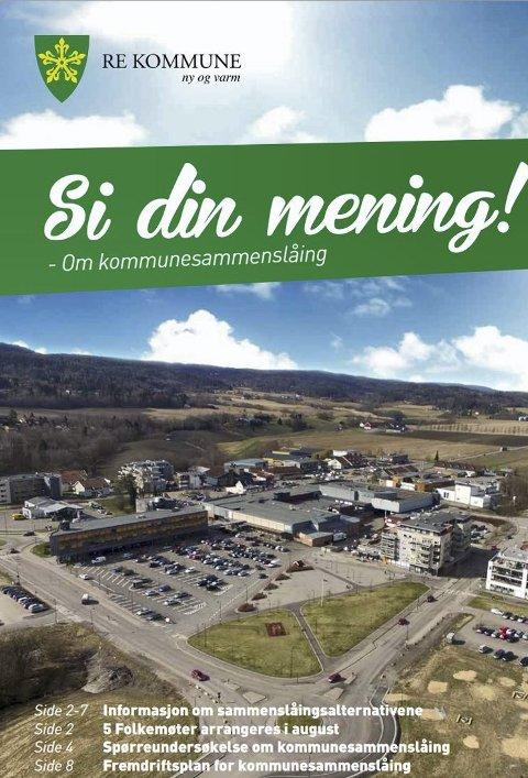 IKKE OPPDATERT: Brosjyren Re kommune sender ut om alternativene for kommunereform.