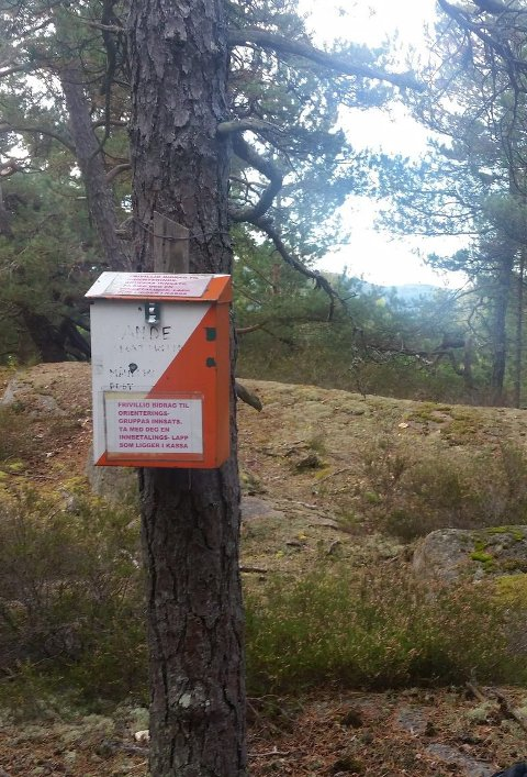 Her er den: Månedens post for oktober er plassert på en kolle langs lysløypa i Skafjellåsen.