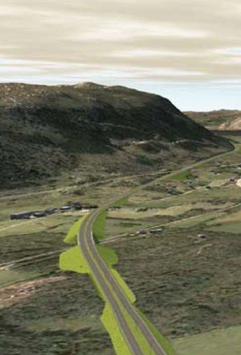 SPLITTES: I korridor R2 er det foreslått å legge den nye veien rett gjennom sentrum av Ualand.