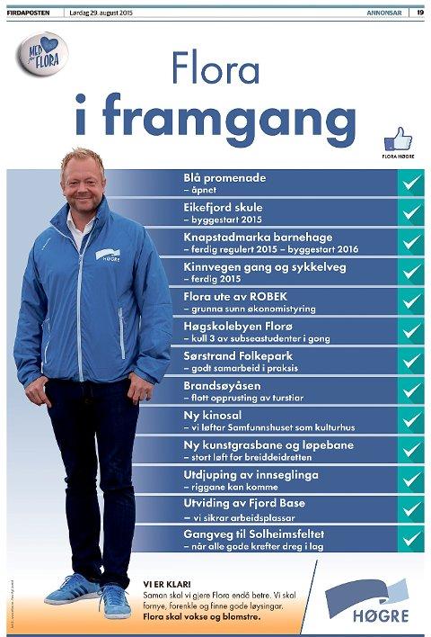 Ordførar Bengt Solheim-Olsen med skrytelista til partiet.