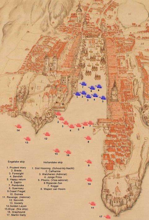 Illustrasjon som viser hvordan skipene lå i havnen denne dagen. De blå er hollandske skip, mens de røde er engelske.