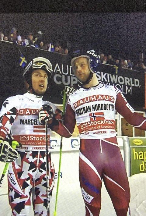 Duell: Jonathan Nordbotten (t.h.) og Marcel Hirscher.  foto: skjermdump, NRK